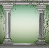 Two marble columns with liana, romantic place in the antique garden,theater decoration,. Vector stock illustration