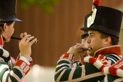 Two marching band members practicing during a War Royalty Free Stock Image