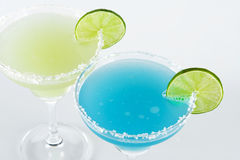 Two margarita alcohol cocktails (top view) Stock Image