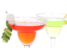 Two Margaritas cocktail with mint and lime spiral in chilled sal Stock Images