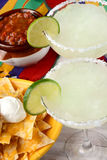 Two Margaritas Nachos and Salsa Royalty Free Stock Images