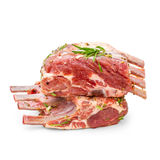 Two marinated rack of lamb in olive oil. Black pepper, coriander seeds Royalty Free Stock Images