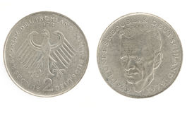 Two Marks - German money. Obverse and reverse Stock Image