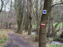 Two Marks at a hiking trail Royalty Free Stock Photo
