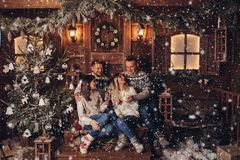 Two married couples are friends a Happy New Year stock images
