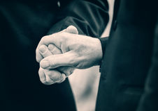 Two Married Men Holding Hands - Lightly Toned. A close up of two married men holding hands at their wedding.  Lightly Toned Royalty Free Stock Photos