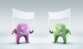 Two Martians holding a blank bann. Two, pink and green, Martians holding a blank banner Vector Illustration