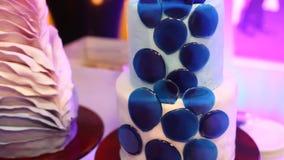 Two marzipan wedding cake , perfect detail of wedding cake stock video footage