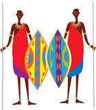 Two masai warriors. Two cartoon masai warriors with brightly coloured sheilds and speares Royalty Free Stock Photo