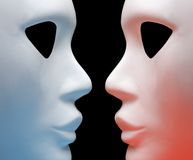 Two mask. On a black background stock images