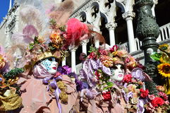 Two mask in San Marco Square stock photography