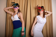 Two masked actress at theater Stock Photos