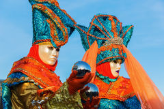 Two masked persons at Carnival of Venice Stock Image