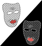 Two masks on white and black background. White and black masks. Fancy masks. Unusual masks. Masks with pattern in the Stock Photos