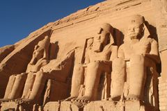 Abu Simbel Temples Aswan Egypt. Two massive rock temples a Abu Simbel Stock Photo