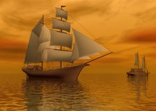 Two mast schooners sails on calm sea during sunset, 3d rendering. Two mast schooners sails on calm sea during sunset. two ships sailing stock illustration