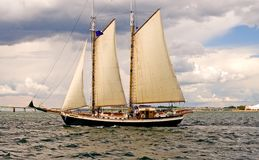 Two-masted sailboat. A view of a two masted sailboat or schooner under sail Stock Image