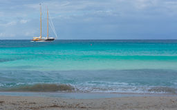 Two masted sailing boat on turquoise sea Royalty Free Stock Photography