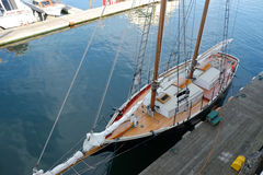 Two masted schooner docked from above Stock Photo