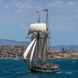 Two masted Schooner Tall Ship Full Sail. Sailing in Alicante waters Mediterranean Stock Photography