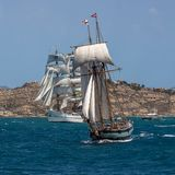 Two masted Schooner Tall Ship Full Sail. Sailing in Alicante waters Mediterranean Stock Images