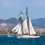 Two masted Schooner Tall Ship Full Sail. Sailing in Alicante waters Mediterranean Royalty Free Stock Photography