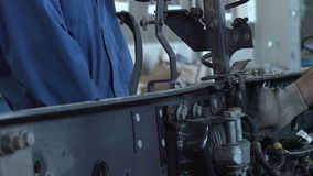 Two master truck repairs stock footage