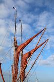 Sails, masts and rigging on a Thames sailing barge yacht stock photography