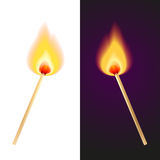 Two matches. Vector illustration of two matches in fire Stock Photos