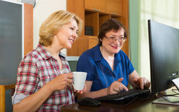 Two mature female  browsing web Royalty Free Stock Photography