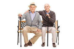 Two mature friends posing together seated on a bench Stock Photo
