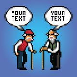 Two mature grandfather talking with speech bubbles pixel art style. Illustration stock illustration