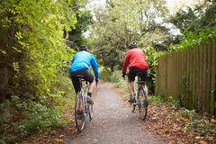 Two Mature Male Cyclists Riding Bikes Along Path. Rear View Of Two Mature Male Cyclists Riding Bikes Along Path Royalty Free Stock Photos