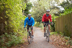 Two Mature Male Cyclists Riding Bikes Along Path. Two Mature Male Cyclists Riding Bikes Along Tree Lined Path Stock Image