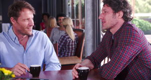 Two Mature Male Friends Sitting In Coffee Shop Chatting stock video footage