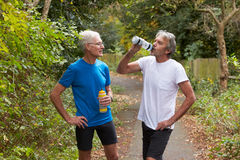 Two Mature Male Joggers Taking Break Whilst On Run. Two Mature Male Joggers Taking Break Whilst Running Stock Photo