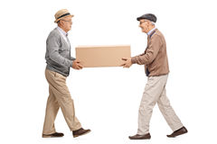 Two mature men carrying a big cardboard box. Full length profile shot of two mature men carrying a big cardboard box isolated on white background royalty free stock images