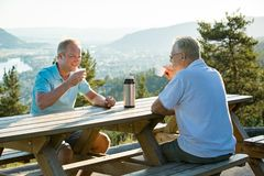Two mature men sitting at wooden table on observation deck on top of mountain. Drink hot coffee from thermos flask talking, smiling, laughing. Beautiful view stock photo