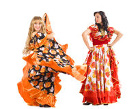 Two mature woman dance flamenco in gypsy costume Stock Photography