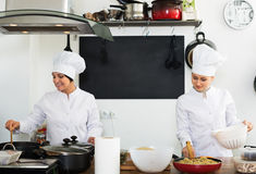 Two mature women chefs cooking food at kitchen Royalty Free Stock Image