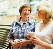 Two mature women drinking coffee Stock Photography