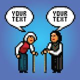 Two mature women grandmother talking with speech bubbles pixel art style. Illustration stock illustration