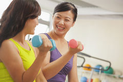 Two mature women smiling and lifting weights in the gym Royalty Free Stock Images