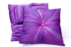 Two Mauve Scatter Cushions with Intricate Patterns Royalty Free Stock Photography
