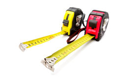 Two measuring roulettes isolated Stock Image