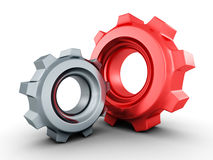 Two mechanical cogwheel gears on white background Stock Images