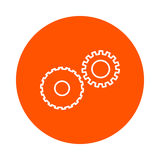 Two mechanical gears symbolizing mechanics, a  circular linear icon, simple color change, a flat style. Two mechanical gears symbolizing mechanics, a  circular Royalty Free Stock Photos