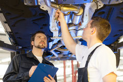 Two mechanics at work. Royalty Free Stock Image