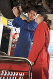 Two mechanics working under car royalty free stock photos