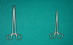 Two medical clamp on a green background. Two medical clamp on green background royalty free stock photography